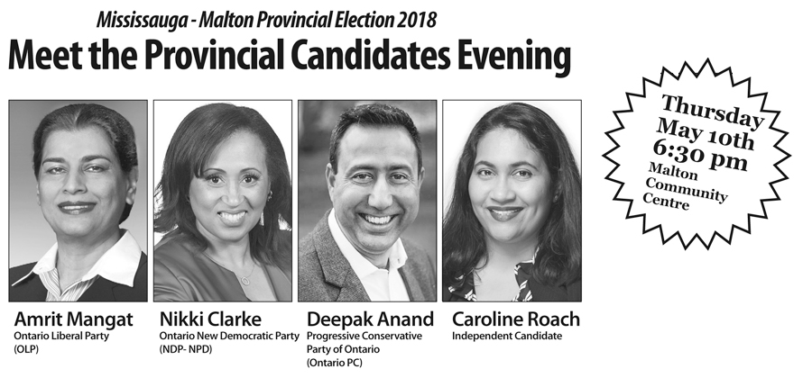 Mississauga-Malton residents are invited to meet Candiates running in Provincial Election