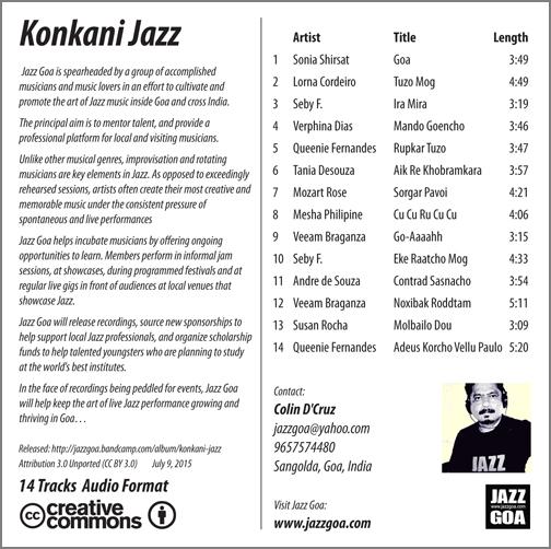 Konkani Jazz back cover of CD
